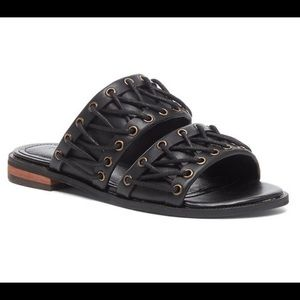 NIB-Kelsi Dagger Black Leather Sandals